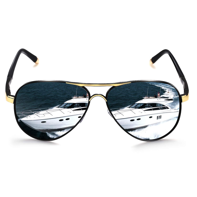 40cc24e3fbc58 ROCKNIGHT Polarized Aviator Sunglasses for Men Women Metal Frame Flat Top Sunglasses  Black Grey Lens Ultralight UV400 Outdoors at Amazon Men s Clothing ...