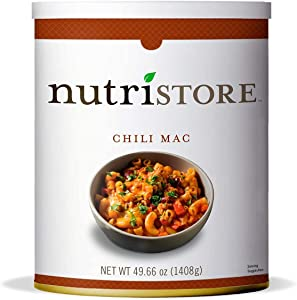 Nutristore Chili Mac #10 Can   Premium Variety Ready to Eat Meals   Bulk Emergency Food Supply   Breakfast, Lunch, Dinner   MRE   Long Term Survival Storage   25 Year Shelf Life
