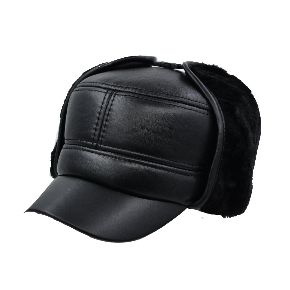 544db47dc00a9d IFSUN Aviator Hat Earflap Leather Pilot Cap Adult Men Winter Trapper  Hunting Hat at Amazon Men's Clothing store: