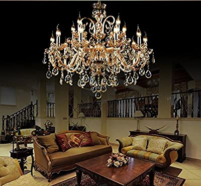 Living Room Pendant Lamp Crystals Chandelier 15 Lights Arms Lamp Color Amber