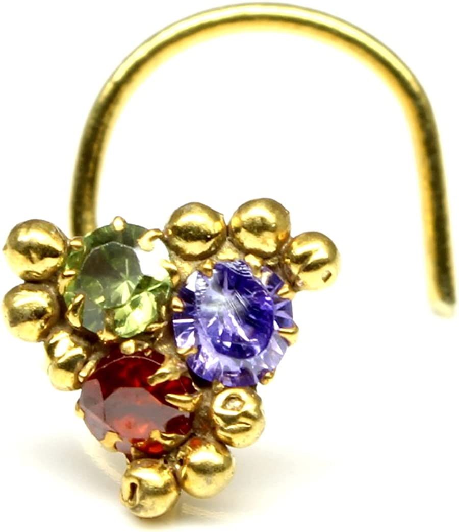 Corkscrew Nose Piercing Ring Multi-Color CZ Stone Nose Stud Karizma Jewels Ethnic Nose Stud