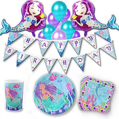 khaotic Mermaid Birthday Party Supplies & Decorations Set - Mermaid Balloons | Happy Birthday Banner |Table Cloth | Paper Cake Plates and Napkins | Favors | Little Mermaid Under The Sea Decor