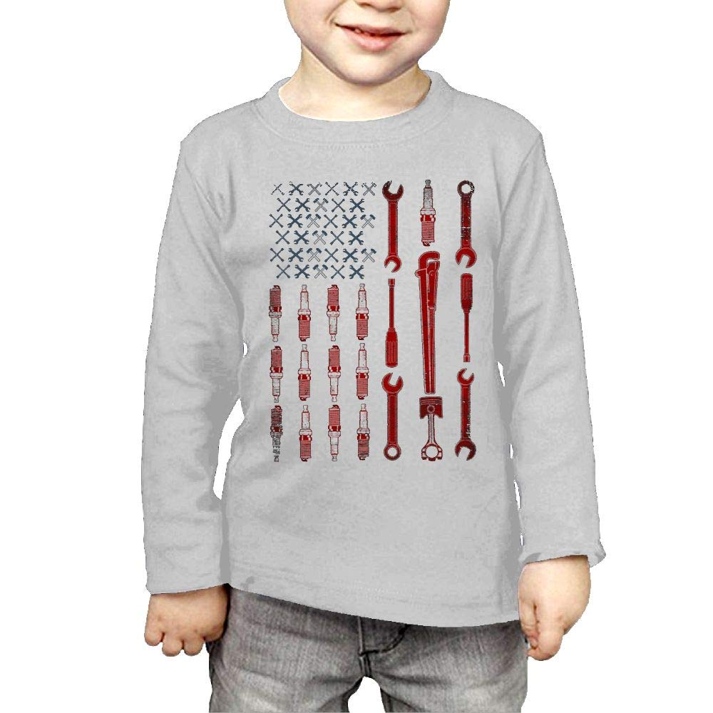 Fryhyu8 Baby Girls Kids Mechanic USA Flag Printed Long Sleeve 100/% Cotton Infants Tops