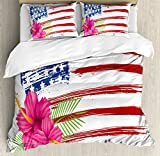 Hawaiian Duvet Cover Set by Ambesonne, American Flag Theme Stars and Stripes Hibiscus Leaves Hawaii USA Patriotic Art, 3 Piece Bedding Set with Pillow Shams, Queen / Full, Fuchsia Navy