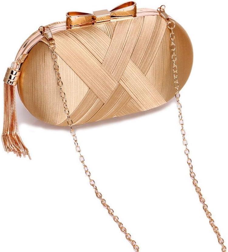 Color : Gold, Size : Free Size Amyannie Evening Bags Womens Elegant Tassel Pendant Evening Party Clutch Bags Bridal Wedding Purse Handbags