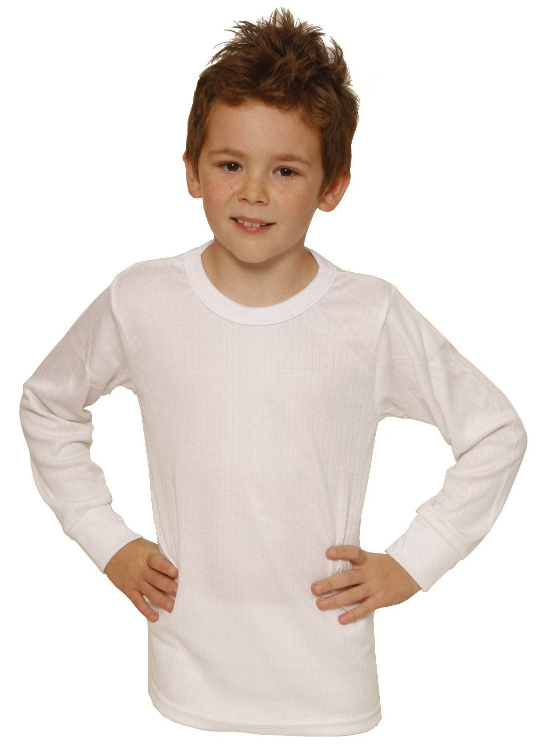 Octave 12 Pack Boys Thermal Underwear Long Sleeve T-Shirt/Vest/Top (12-13 yrs [Chest: 30-32 inches], White)