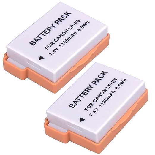 30 opinioni per 2300mAh (pacchetto * 2) LP-E8 batteria di ricambio per Canon EOS 700D 650D 600D