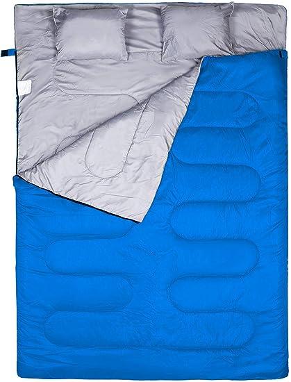 WERTYCITY - Saco de dormir doble, 3 estaciones, cálido, clima fresco, verano, primavera, otoño, impermeable, ligero, para adultos, niños, camping, ...