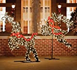 Northlight  Giant Commercial Grade LED Lighted Leaping Reindeer Topiary Yard Art Christmas Decoration, 5.75'
