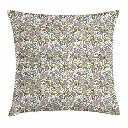 Ambesonne Paisley Throw Pillow Cushion Cover, Traditional Persian Pickles Pattern Vintage Style Arabesque Ornament, Decorative Square Accent Pillow Case, 26 X 26 Inches, Green Purple Pale (Vintage Pickle)