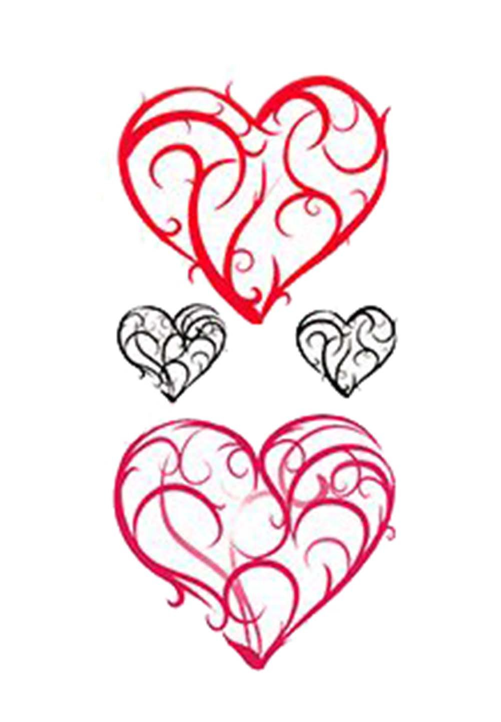 1 Set Of Creative Heart-shaped Pattern Tattoo Stickers Waterproof