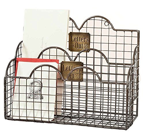 Colonial Tin Works Industrial Galvanized Steel Wire Letter / File Desk Organizer Holder Office Storage, Gray (Colonial Paper Holder)