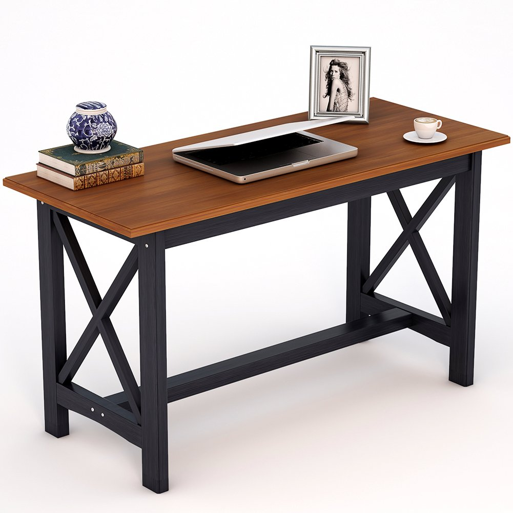 LITTLE TREE Retro Computer Desk, 55''L x 23.6''D x 28.3''H Reinforced Solid Collection & Wood Table as Writing Desk or Dining Table, for Living Room or Home Office, Cherry