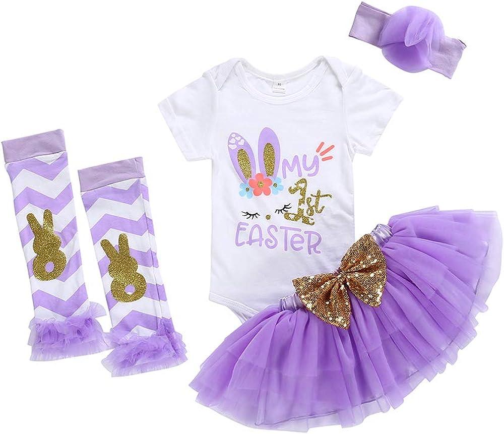 Newborn Baby Girls My 1st Easter Romper Tutu Skirt Leg Warmers Outfits 4PCs Set