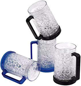 Double Wall Gel Frosty Freezer Ice Mugs, Frosty Beer Mugs with Handle Great as Old Fashion Drinking Glasses at BBQs and Parties (16 oz. Each, Set of 4)