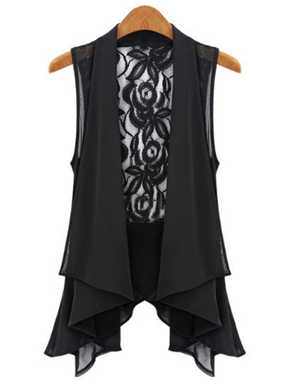 Nicholas Wit Women Big Yards Chiffon Vest In The Long Section Lace Jacket Stand Collar Asymmetric Hem Vest Tops S-XXXXXL Black 4XL