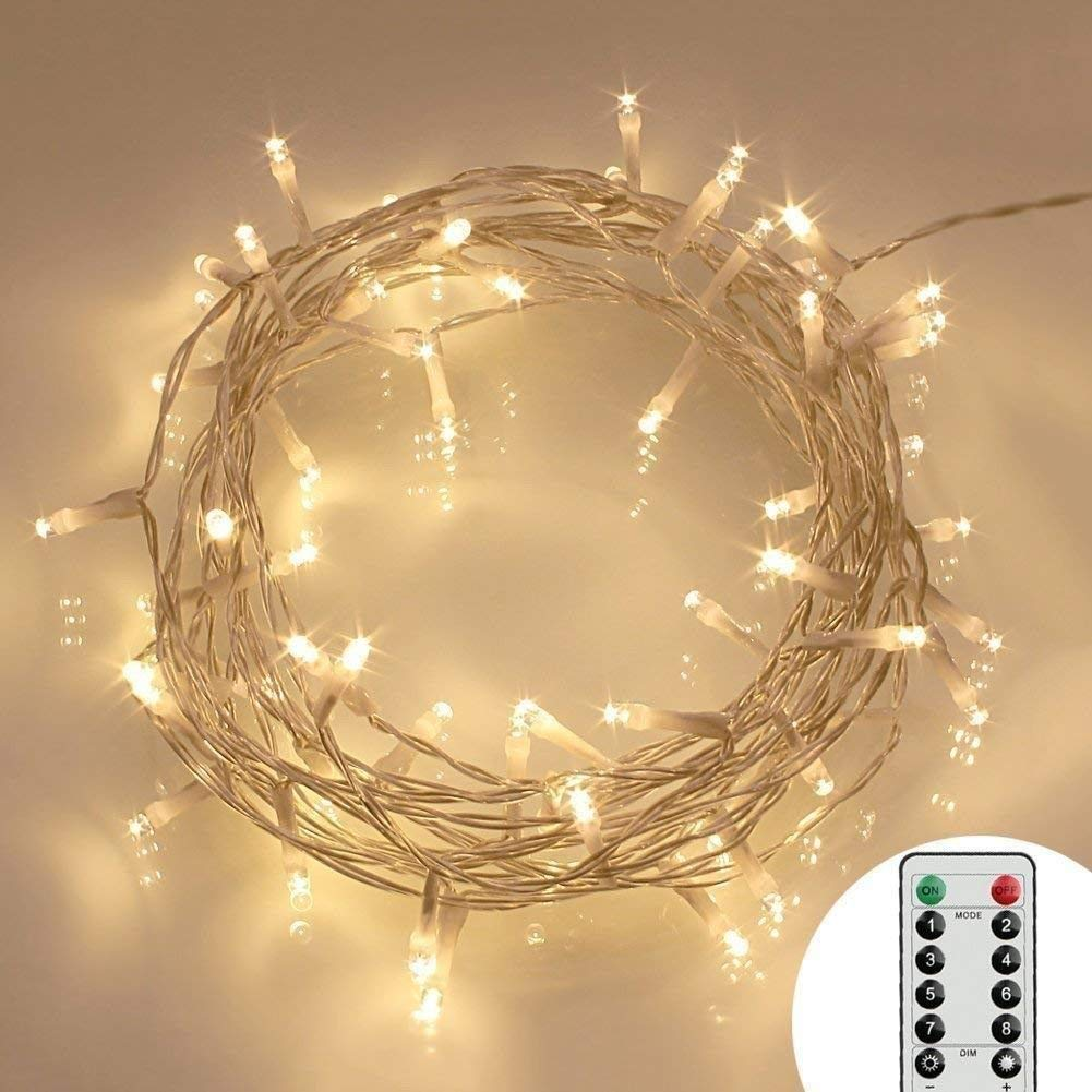[Remote and Timer] 16.4ft 40 LED Outdoor Fairy Lights - 8 Modes Battery Operated String Lights (120 Hours of Lighting, IP65 Waterproof, Warm White)