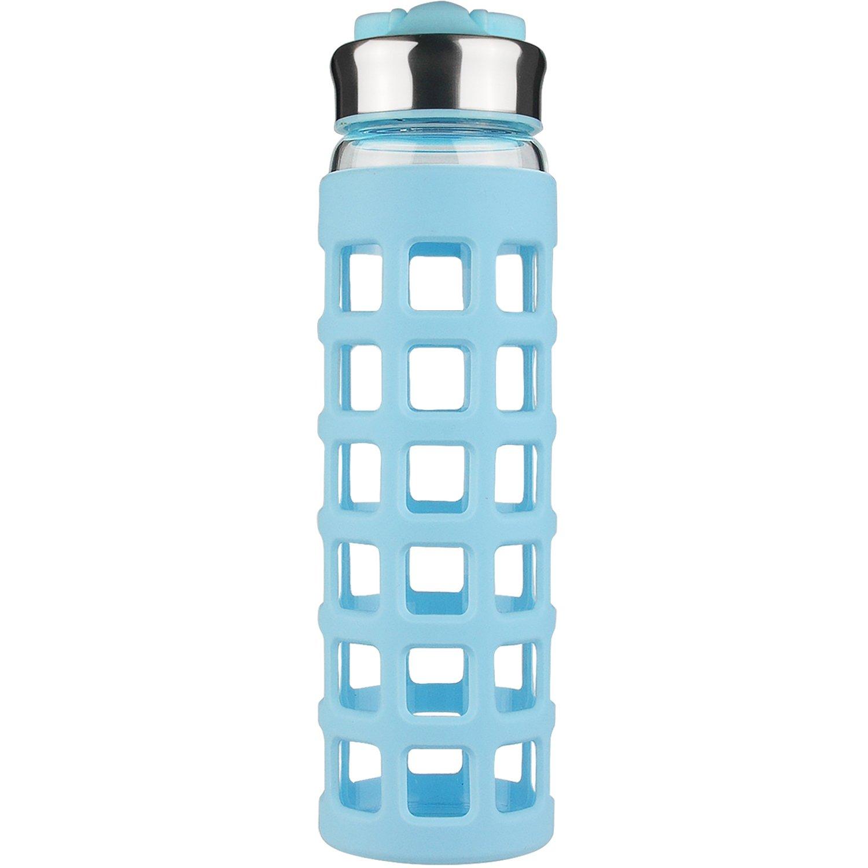 SHBRIFA 700 ml Glas Wasserflasche Trinkflasche mit Silikonhülle BPA ...