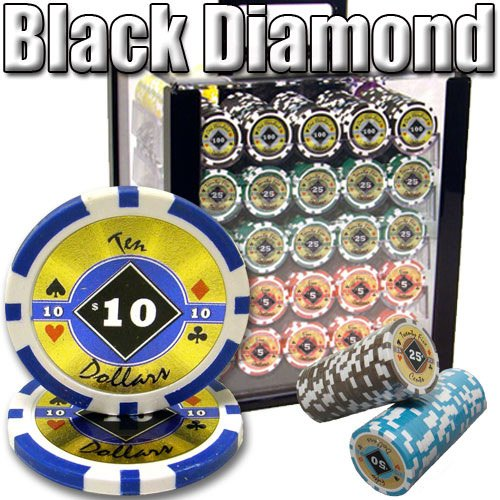 Composite Chips Diamond Clay Poker (Brybelly 1,000 Ct Black Diamond Poker Set - 14g Clay Composite Chips with Acrylic Display Case for Casino Games)