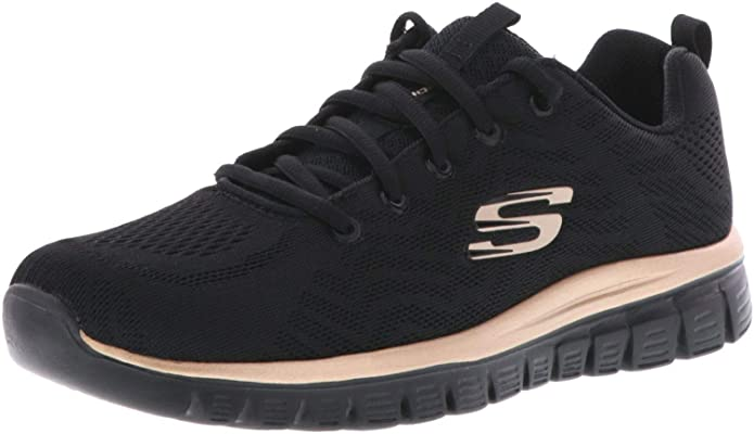 Skechers Graceful – Get Connected Sneakers Damen Schwarz (Black/Rose Gold)