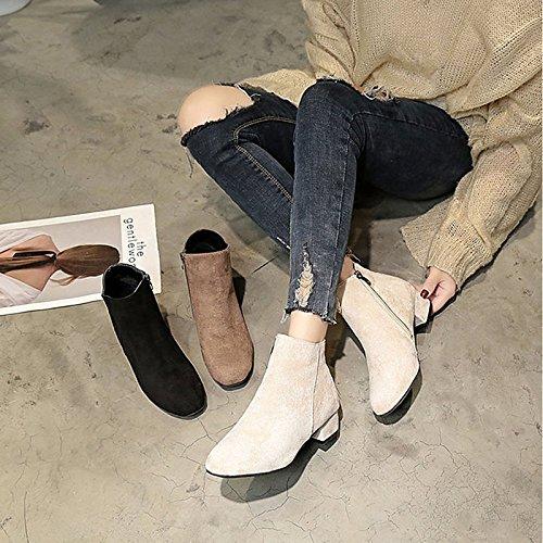 primavera negro PU Zapatos mujer Beige comodidad botas de Black para marrón otoño exterior wwtzqFB4