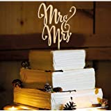 Mr and Mrs Cake Toppers, KOOTIPS Wooden Wedding Cake Topper Party Cake Decoration