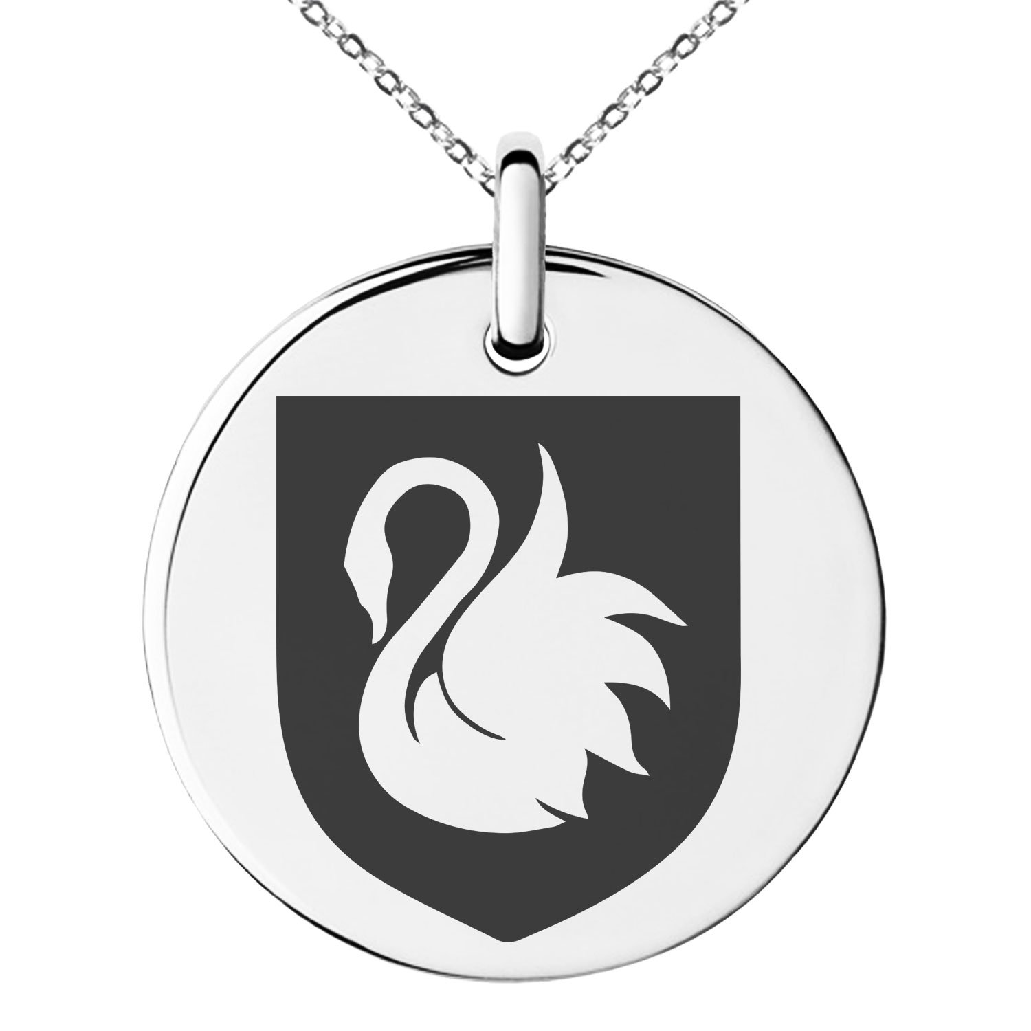 Tioneer Stainless Steel Swan Harmony Coat of Arms Shield Symbol Engraved Small Medallion Circle Charm Pendant Necklace