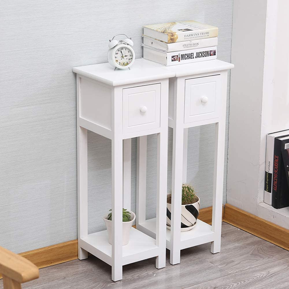 EXQUI Bedside Tables Set of 8 with Drawer White Slim Living Room Tables  Small Nightstand with Drawers Telephone End Table for Small Space