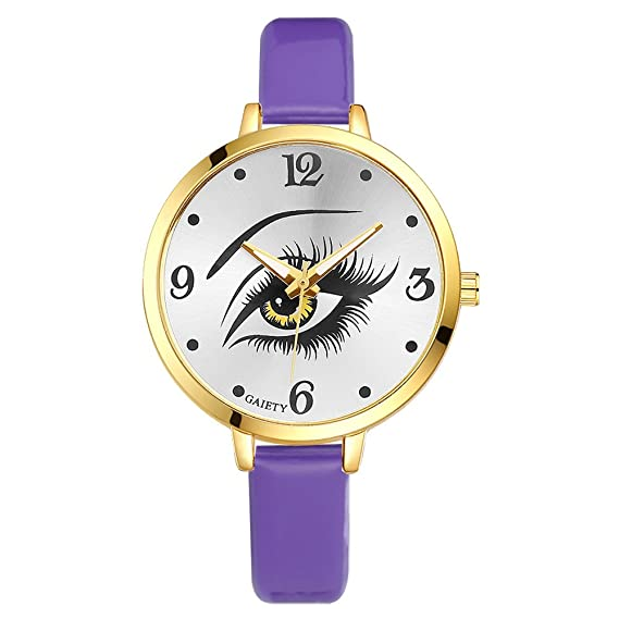 Ojos pulsera piel Reloj de pulsera mujer Reloj analógico para mujer Quartz Reloj Lila: Amazon.es: Relojes