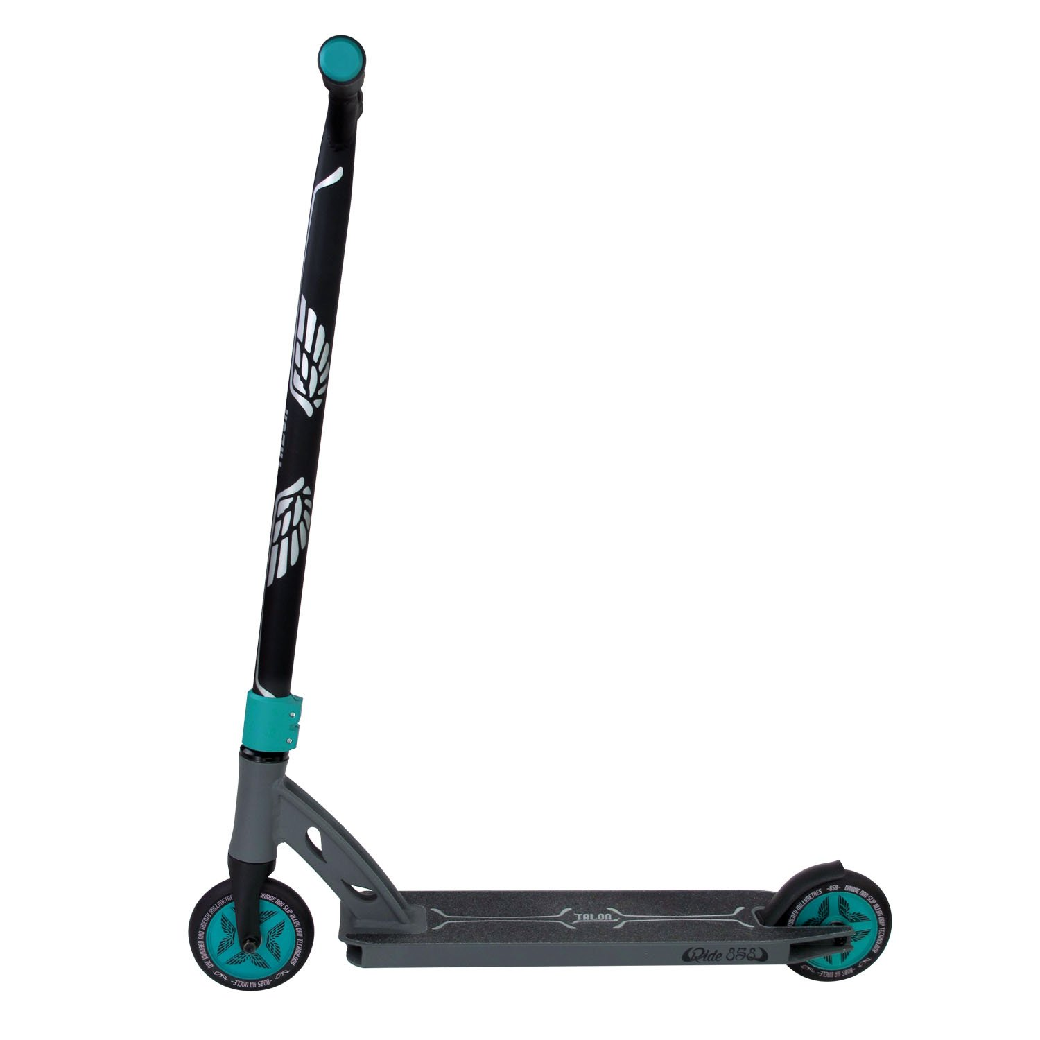 Ride858 Scooter for Kids Or Adults with Patent Reinforced Aluminium Bar Plus 120MM Hollow Core Wheels and Fully Integrated Head Set for The Ultimate Performance Matte Teal Gun Grey