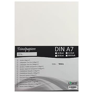 50 Blatt DIN A7 Gmund Transparentpapier 100g Farbe weiß transparent FPA-126