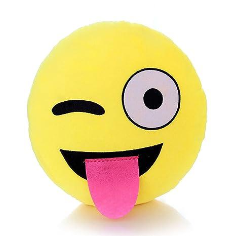 MAXGOODS Emoji Emoticón Almohada Cojín Suave Peluche Felpa Almohadilla Redonda (Opciones de Siete Estilos) (Lindo)