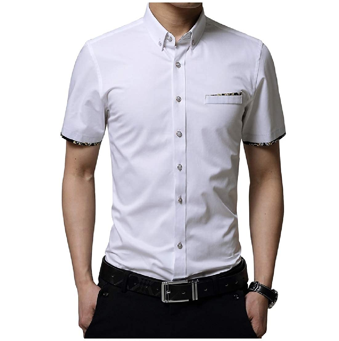 Vska Mens Fashion Bussiness Short Sleeve Silm Fit Lapel Printed Shirt Tops