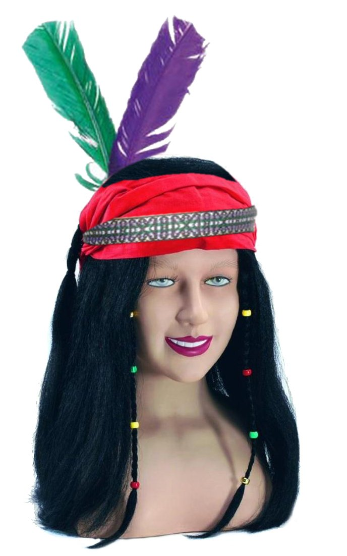 Deluxe Indian Headband With PVC Feather Native Fancy Dress Costume Accessory