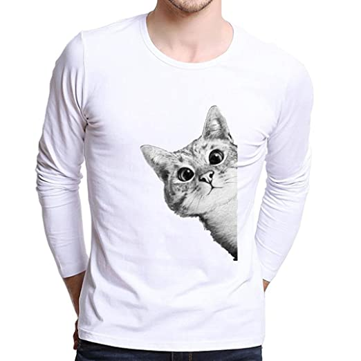 83f6c393b83e9 Amazon.com  WM   MW Boys Men s Plus Size Tees Shirt White Modal Long Sleeve  Cute Cat Printing T Shirt Pullover Tops  Clothing