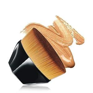 NUIBO Flawless Brush Petal-Shaped Foundation Brush, Kabuki Brush Suitable for Mixed Liquid, Cream or Flawless Powder Cosmetics, Multifunctional Makeup Brush with Bonus Protective Case (Black)