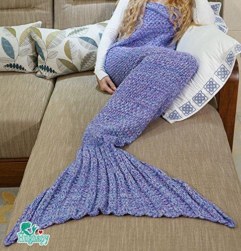 Hughapy174; Big Mermaid Tail Blanket Handmade Soft Crochet Throw Blanket for Teen/ Adult,All Seasons Knitted Seatail Sleeping Bag (Adult, Purple) (O12 Christmas Days Of)