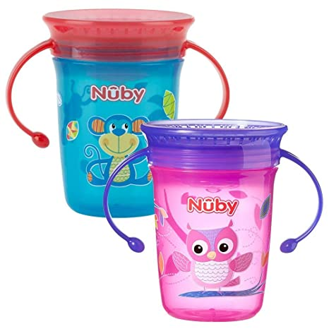 Nuby No derrames taza de 360 grados, Mini, pack de 2 [colores surtidos
