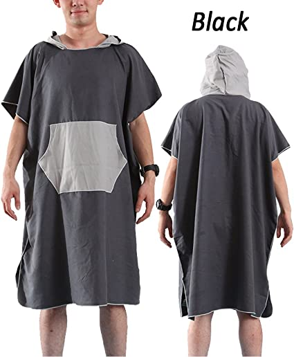 Quick-Dry Surf Beach Wetsuit Changing Towel Bath Robe Poncho w// Hood Gray