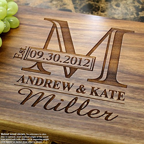 Monogram Personalized Engraved Cutting Board- Wedding Gift, Anniversary Gifts, Housewarming Gift,Birthday Gift, Corporate Gift, Award, Promotion. - Cutting Engraved Board