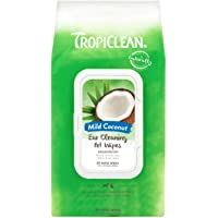 TropiClean Ear Cleaning Wipes for Pets, 50ct, Made in USA