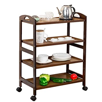 Serving Wine Cart Ruedas Giratorias, Carro De Cocina Enrollable De 3/4 Niveles para