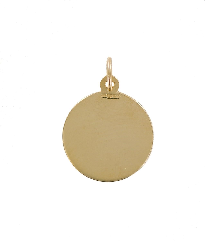 Mens 9ct Gold Round Medium Diamond Cut St Christopher Pendant On A Curb Necklace