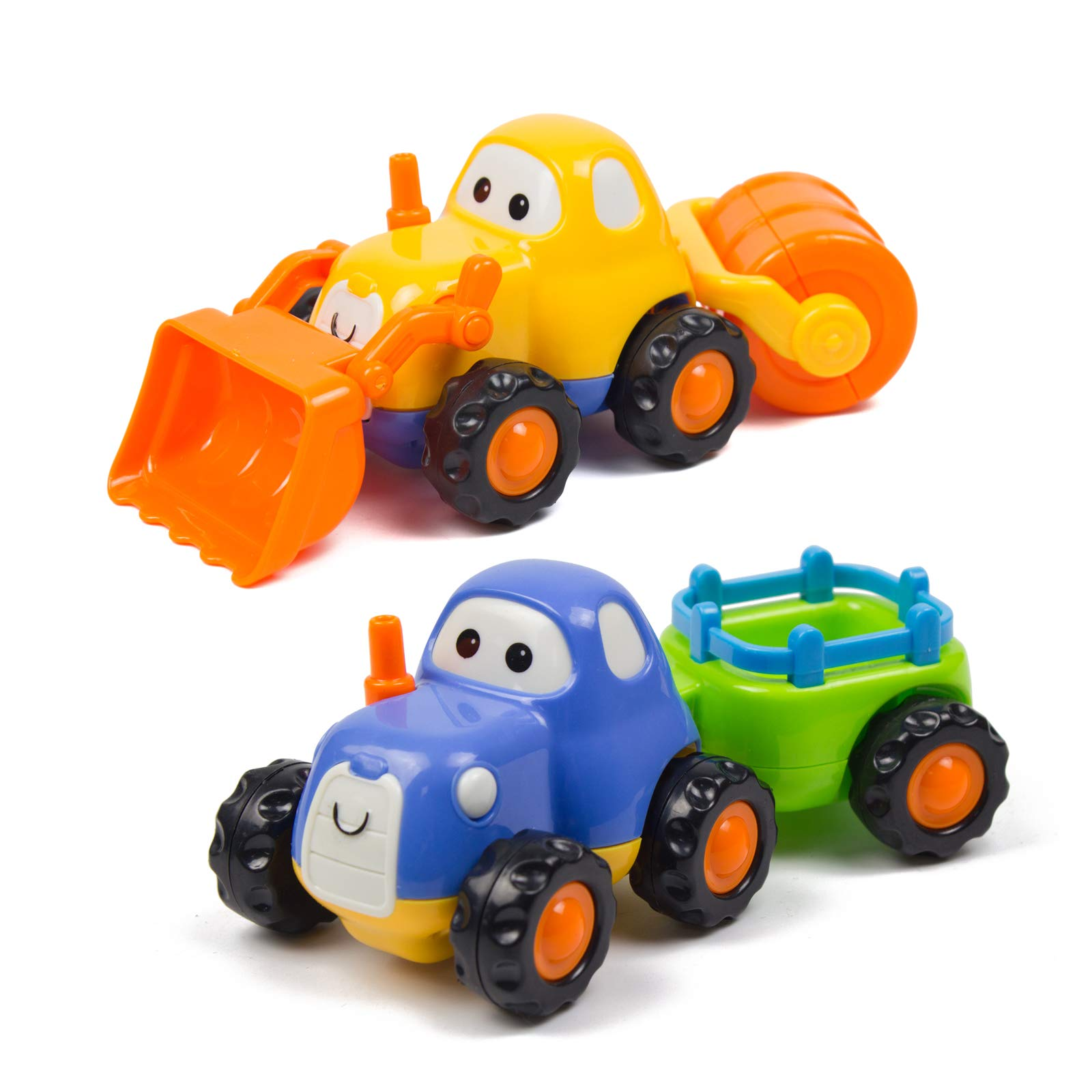 Woby Push and Go Friction Powered Car Engineering Construction Vehicles Toys Set Tractor Bulldozer Truck Early Educational for 1 Year Old Baby Toddler Boys