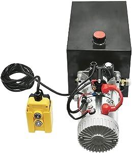 Hydraulic Pump Unit 10 Quart Single Acting Hydraulic Power 12V DC Steel Tank Hydraulic Pump Power Unit for Dump Trailer Car Lifting (10 Quart Steel Single Acting)