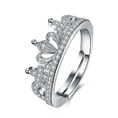 18dfe7c695a2 Via Mazzini Platinum Plated Royal Princess Crown Adjustable Proposal Ring  for Women (Ring0296) -