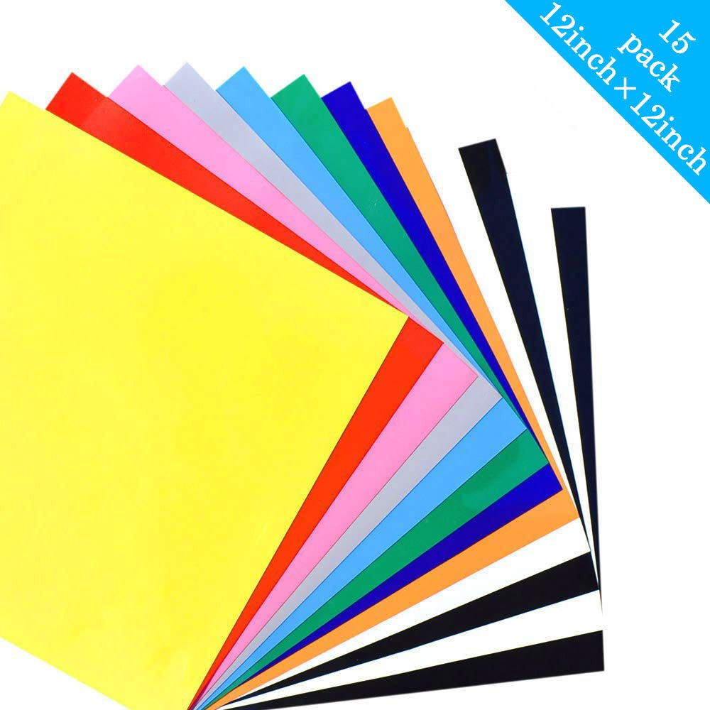 Heat Transfer Vinyl for T Shirts Fabric - 15 Sheets 12'x 12' - Assorted Colors - Iron On HTV Vinyl Colored Starter Kit for Cricut and Silhouette Cameo (Assorted Colors)