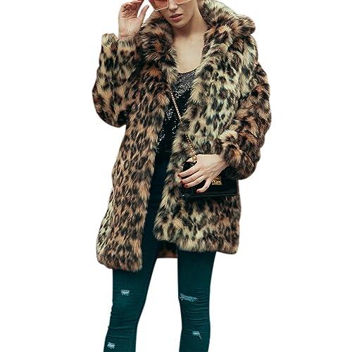 iBaste Abrigo Mujer Larga Chaqueta de Pelo Otoño e Invierno Estampado de Leopardo de Pelaje Sintetico