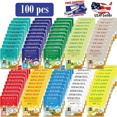 [OBS lab] 100 pcs Ultra Hydrating Essence Mask, Korean Faacial Msk Sheet ( 10 x 10 Types), ---- Aloe,Collagen,Cucumber,Green Tea,Pearl,Placenta, Royal Jelly, Snail,Stem Cell,Vitamin (Collagen Jelly Pack Mask)