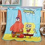 HOLY HOME Children's Flannel Fleece Blanket Throw Anime Figures 60''x80'' Spongebob